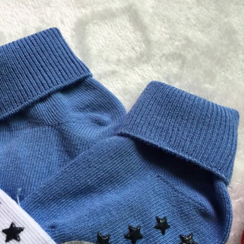 Anti-slip barnstrumpa 3-pack - Blå, Vit & Grå