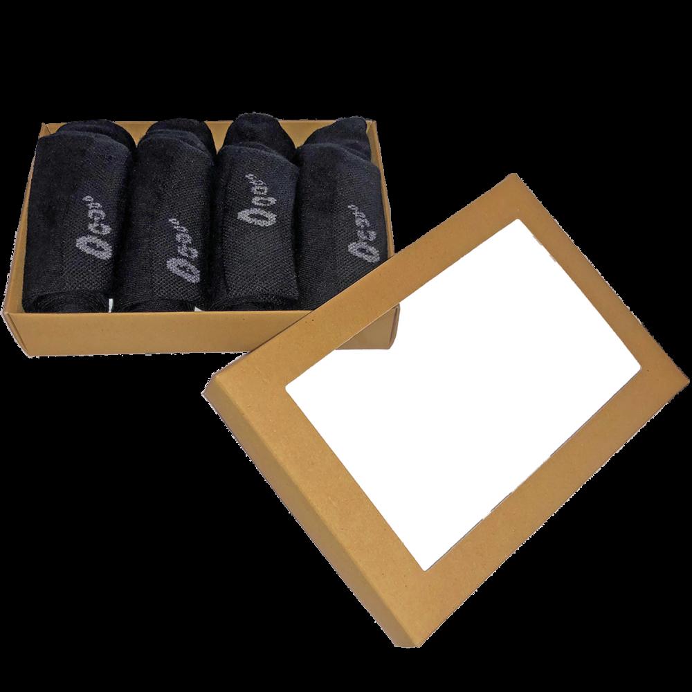 Black City presentask - 4 par svarta strumpor av 76% bomull