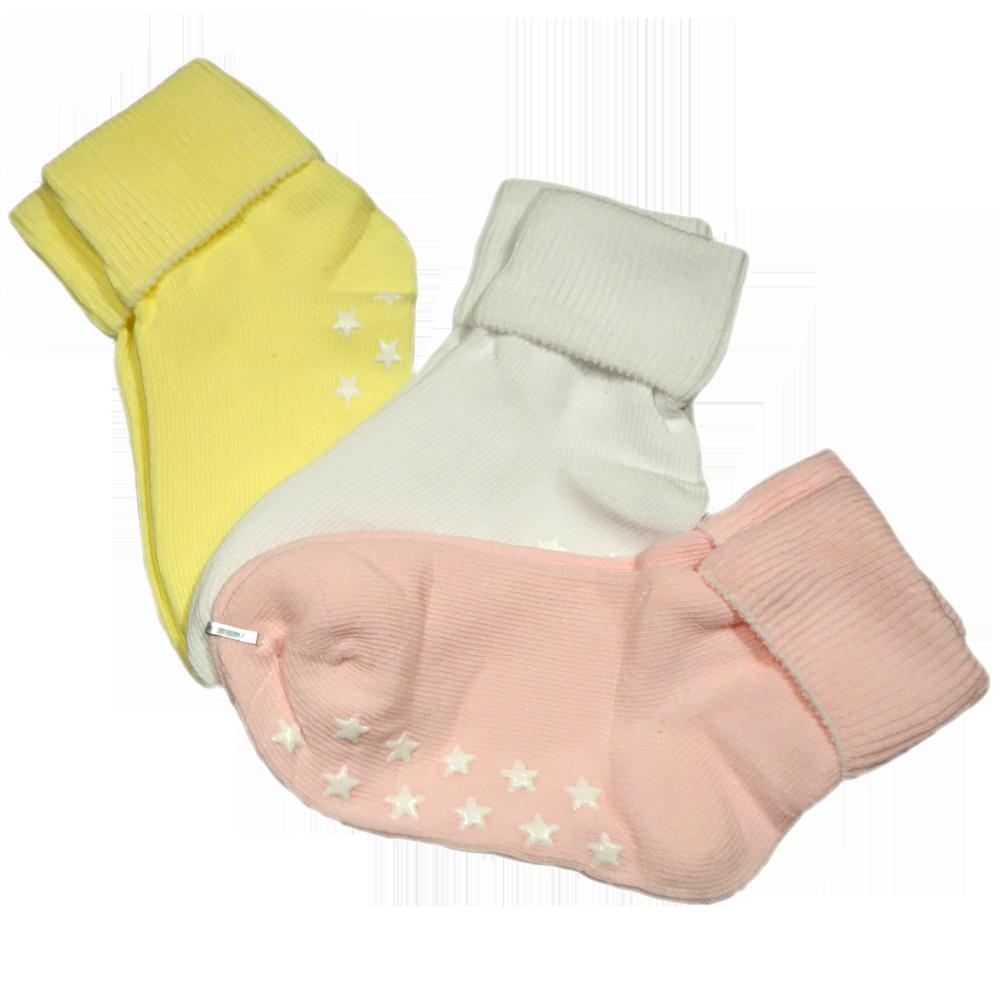 Anti-slip barnstrumpa 3-pack - Gul, Vit & Rosa