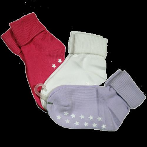 Anti-slip barnstrumpa 3-pack - Rosa, Vit & Lila